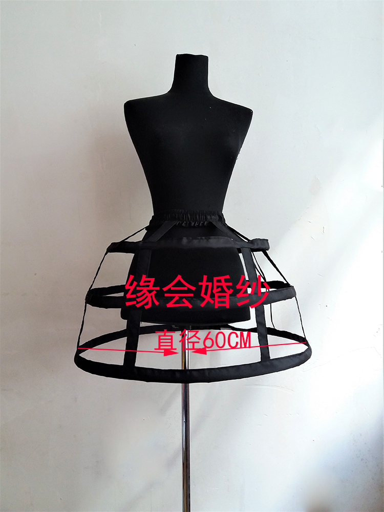 a2c6eb9ee Black and white three-tier bird cage skirt Lolita hollow fish bone support  maid skirt violence adjustable daily support skirt