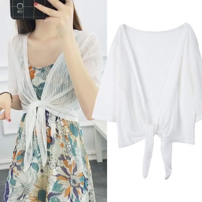 新款吊带外套开衫外搭披肩小短款女夏季雪纺配长裙薄纱的网纱透明