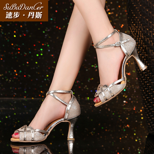 Women's Ballroom Latin dance Shoes Latin dance shoes wome adult medium high heel soft sole silver dance summer square dance shoes dance performance sandals