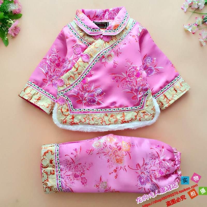 儿童唐装套装新款女宝宝秋冬款套装满周礼服女童礼服新年加厚唐服