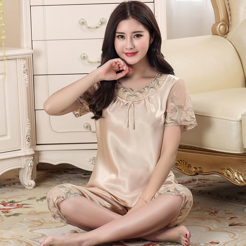 夏季新款中年套装睡衣真丝丝绸短袖薄款丝质大码女士家居服