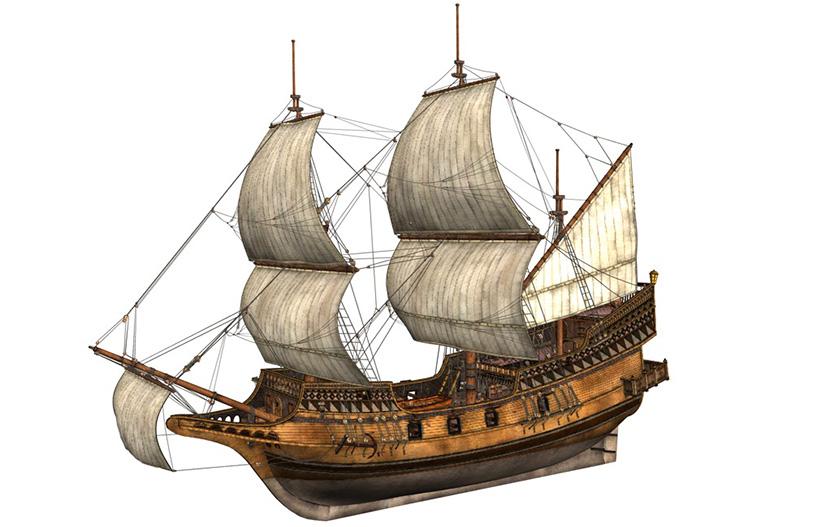 7款古代军舰海盗船三桅帆船北欧维京船C4D模型创意3D素材 MX475