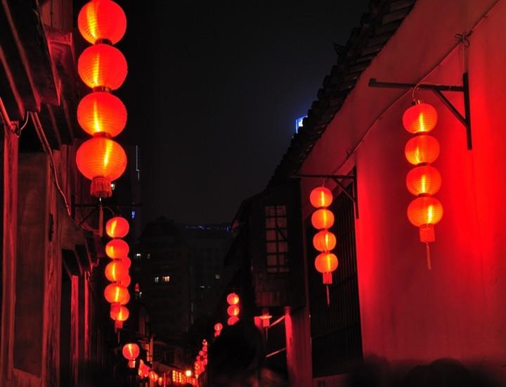 春节新年装饰大红色连灯串笼户外防水广告定製印字冬瓜长小灯笼挂饰详细照片