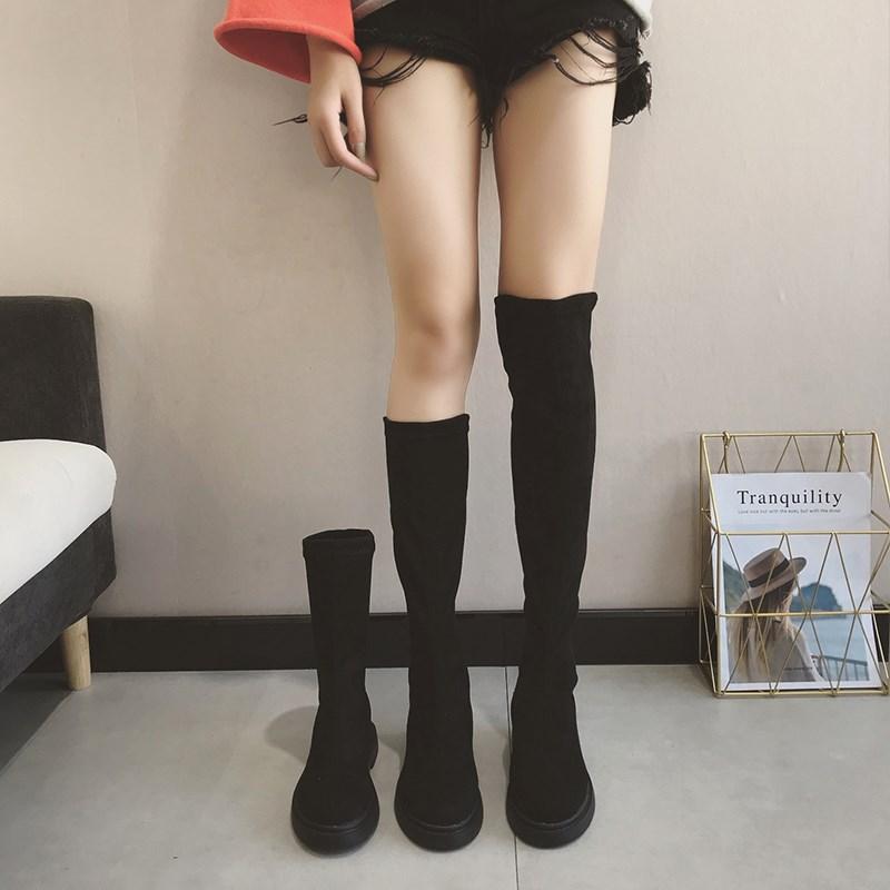 大童拉链平地冬季孕妇马靴长筒靴牛仔裤女士老年人宽松白色加厚