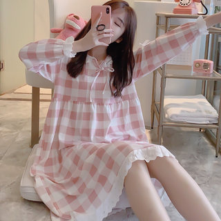 Pajamas women's spring and autumn long-sleeved pure cotton student plaid lace princess style long nightdress home service autumn and winter