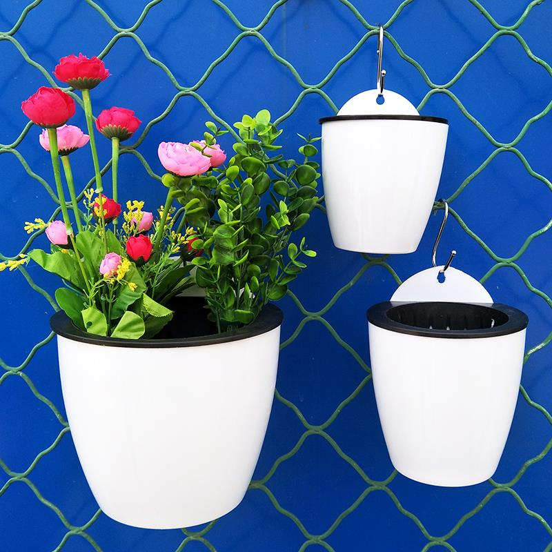 Wall-mounted flower pot Wall water-absorbing green Luo LAN lazy hanging hanging hanging hanging hook hanging wall living room indoor automatic flower pot