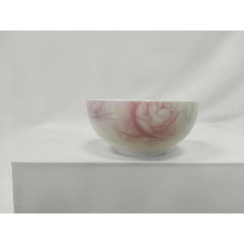 彩含山饭碗米套装汤碗骨瓷碗小汤碗护边吃饭喝家用菜盘10只装陶瓷