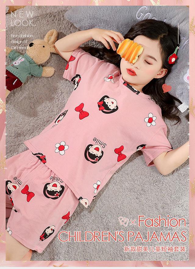 中國代購|中國批發-ibuy99|儿童短袖套装纯棉睡衣夏季薄款女童家居服套装女宝短袖小孩空调服
