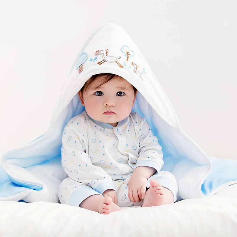 全棉时代 婴儿针织棉纱抱被 新生儿宝宝包被 初生新生小被子带帽