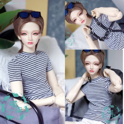taobao agent BJD baby clothes casual high neck black and white striped T-shirt bottoming shirt 3 points Pu Shu SD13 Shu SD17 spot