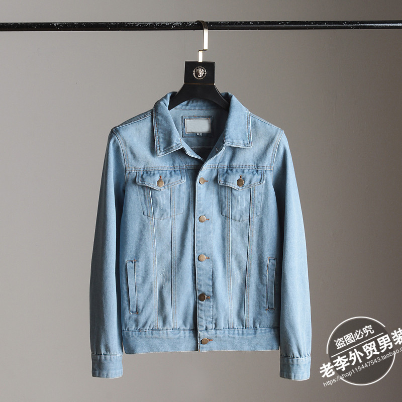 Spring new Hong Kong wind art retro men's workwear wash denim jacket jacket can be couple siphone
