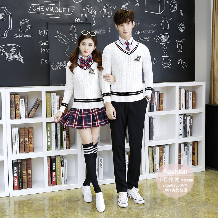 514ebb65ea ... College wind Korean school uniform junior high school male and female  students sweater suit class service autumn and winter chorus performance  clothing