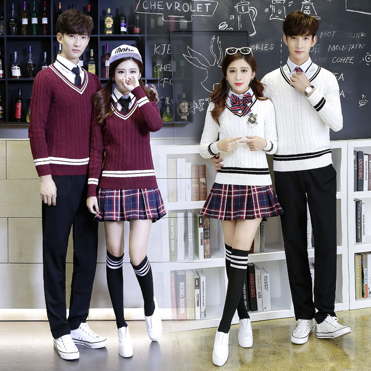474cfd6181 British College wind Korean school uniform junior high school male and female  students sweater suit class service autumn ...