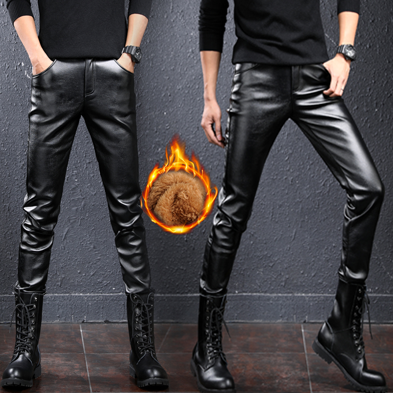 3533ce9a82ba0 Men s leather pants plus size autumn and winter trend Korean men s leather  pants men s trousers tight feet motorcycle leather pants male slim
