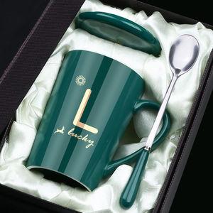 茶杯马克杯带盖勺男女陶瓷杯子