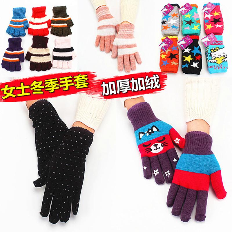五指针织女士手套冬季毛线加绒加厚保暖韩版学生可爱半指打字骑行