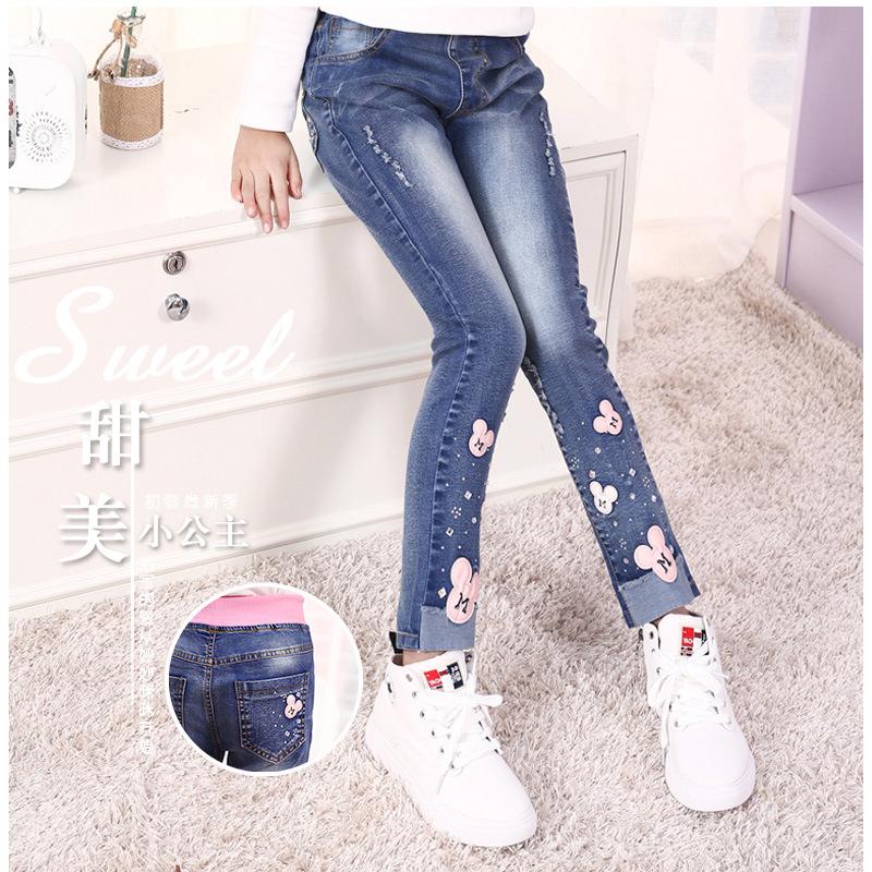 Mùa thu đông 3 phiên bản Hàn Quốc 4 quần jean bé gái 5 trẻ lớn 6 quần 7 thủy triều 8 chân quần 10 quần áo trẻ em 12 quần 15 tuổi