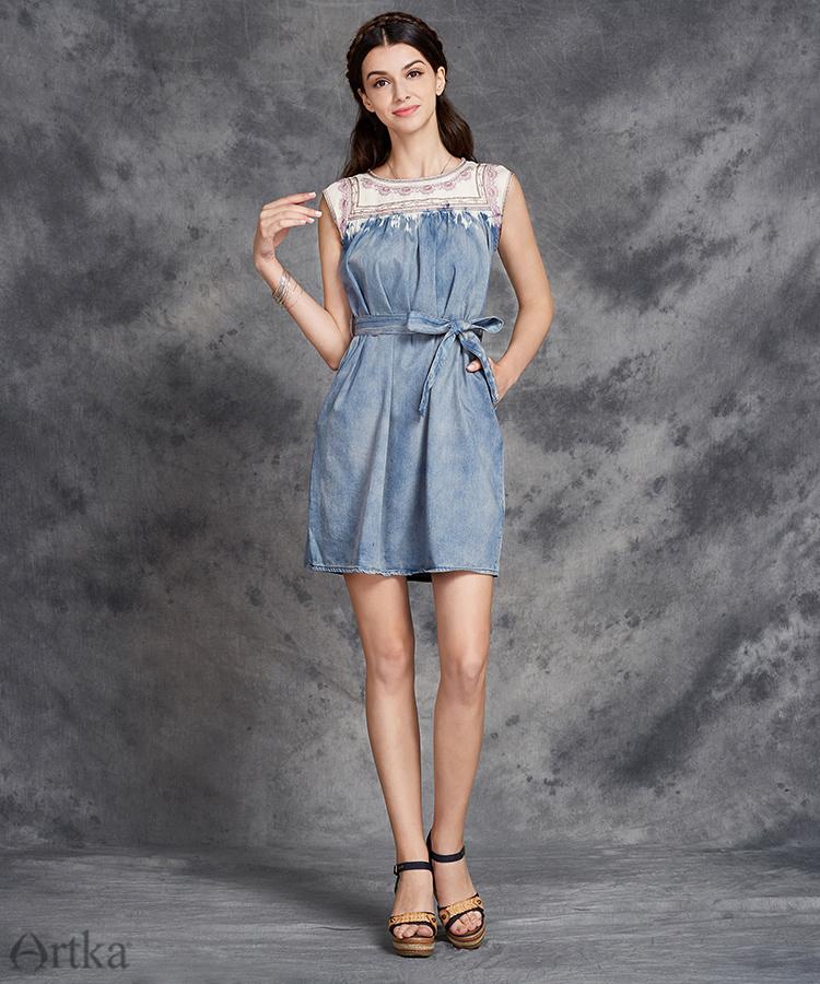 Artka Aka mùa hè mới của phụ nữ quần áo thêu rửa trắng retro hoang dã cao bồi váy L814053X