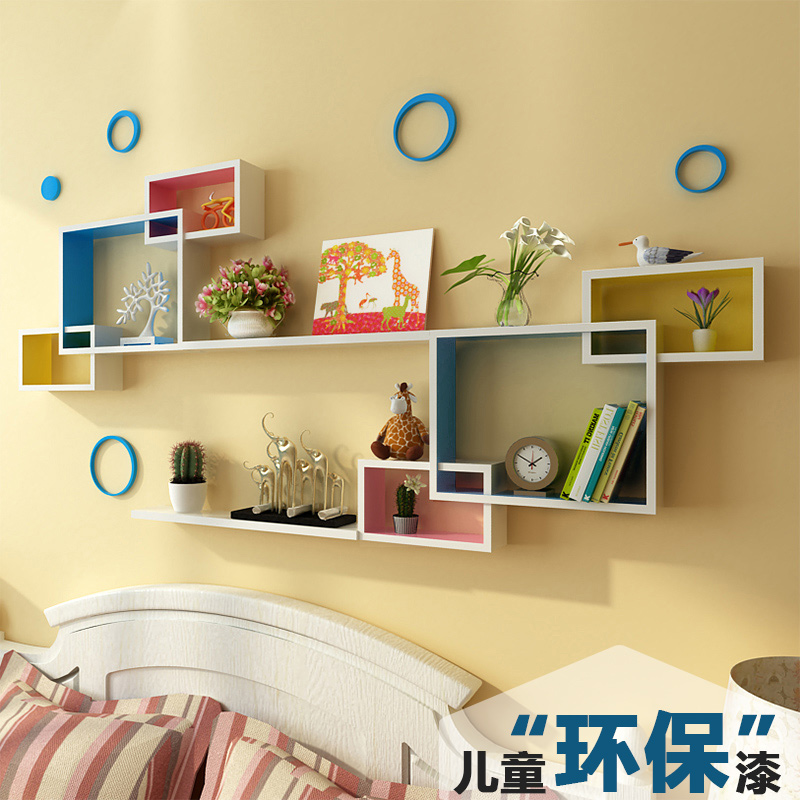 Wall shelf free punching TV wall decoration living room bookcase ...
