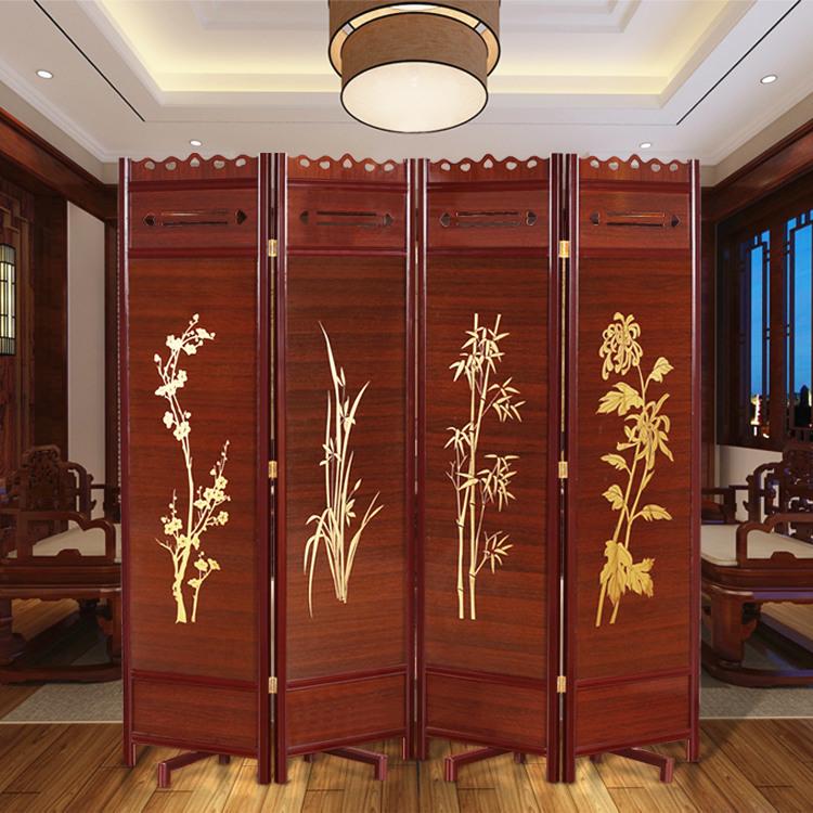 实木折叠可移动屏风酒店屏风隔断办公室家用玄关隔断仿古中式屏风