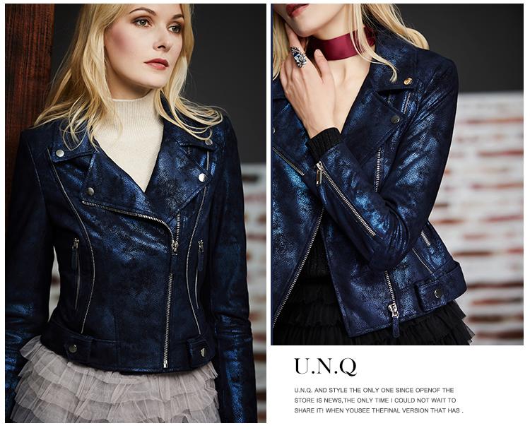 U.N.Q. Light luxury tone high-level sense of starry sky blue pearly sheepskin trim short model locomotive leather coat girl 60 Online shopping Bangladesh