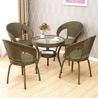 Three-piece rattan chair small balcony coffee table combination modern simple living room home rattan chair back chair single round table