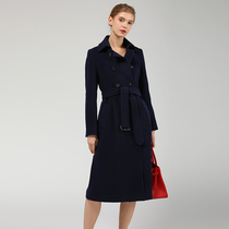 Tibetan Blue cashmere coat female long over knee double breasted slimming waist Show