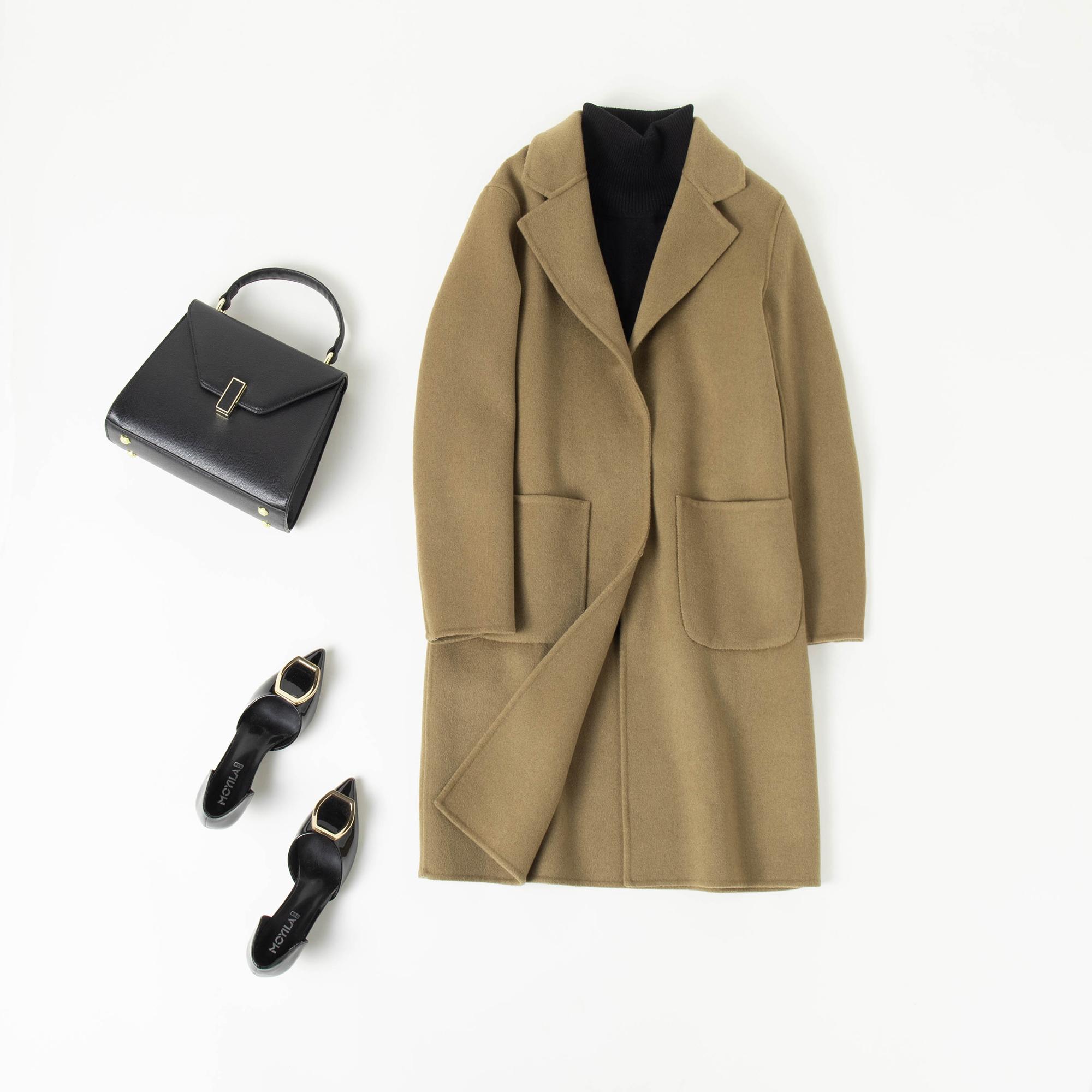 厂家直销外套大衣中长款毛呢女2018秋冬季新款羊绒厚双面羊毛呢