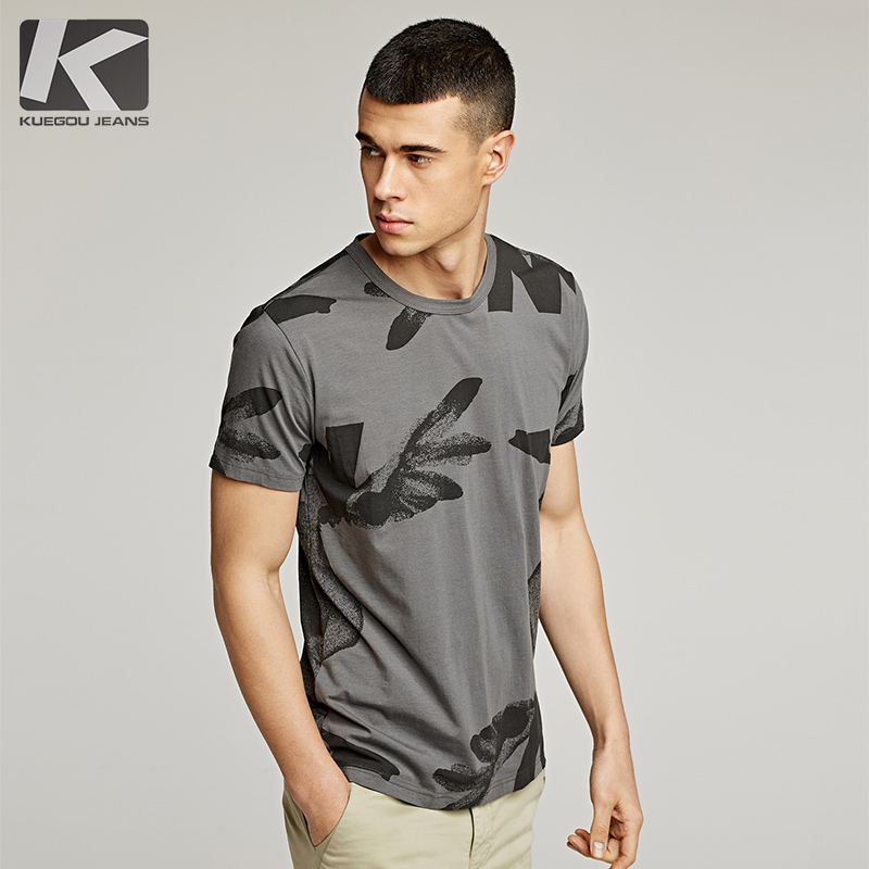 Cool clothing to buy men's short-sleeved T-shirt summer personality printing T-shirt trend round neck slim half-sleeved clothes male 390