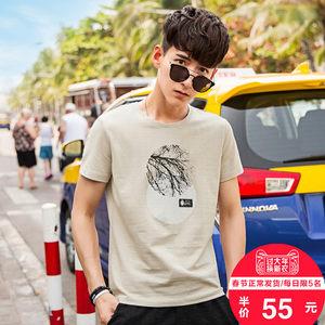 no1dara2018新款男短袖T恤青少年韩版潮流创意印花圆领半袖上衣服