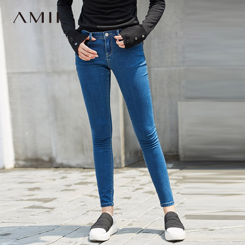 Amii minimalist street wind stretch thin jeans women 2019 spring new nine slim pencil pants