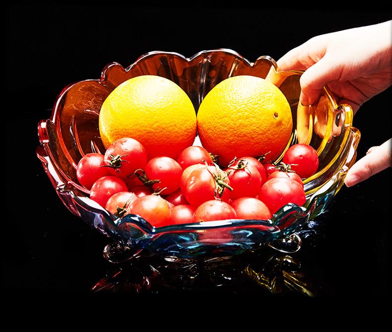 欧式水晶玻璃水果盘 现代创意客厅家用茶几篮 大号糖果干果沙拉盆商品详情图