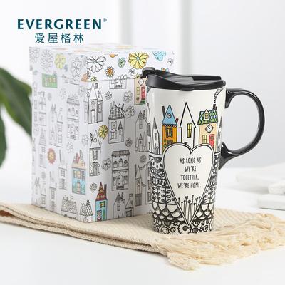 爱屋格林马克杯带盖大容量陶瓷杯家用简约北欧风办公室水杯礼盒