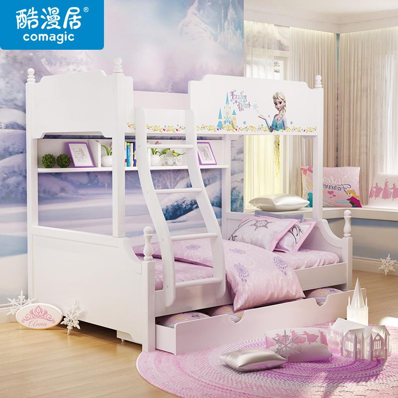 迪士尼韓式田園兒童床 高低子母床上下床 米妮公主高低床多功能床