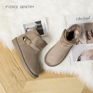 冬季加绒雪地靴女短筒保暖平底短靴