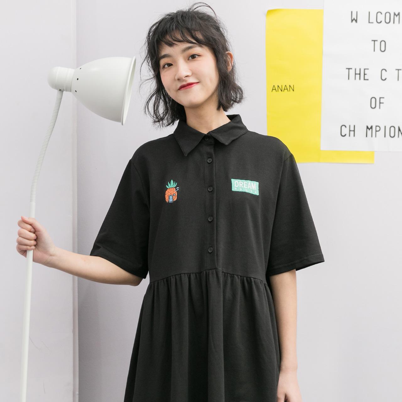 夏季冷淡风连衣裙女韩版裙子古着感学生中长款2019流行少女新款