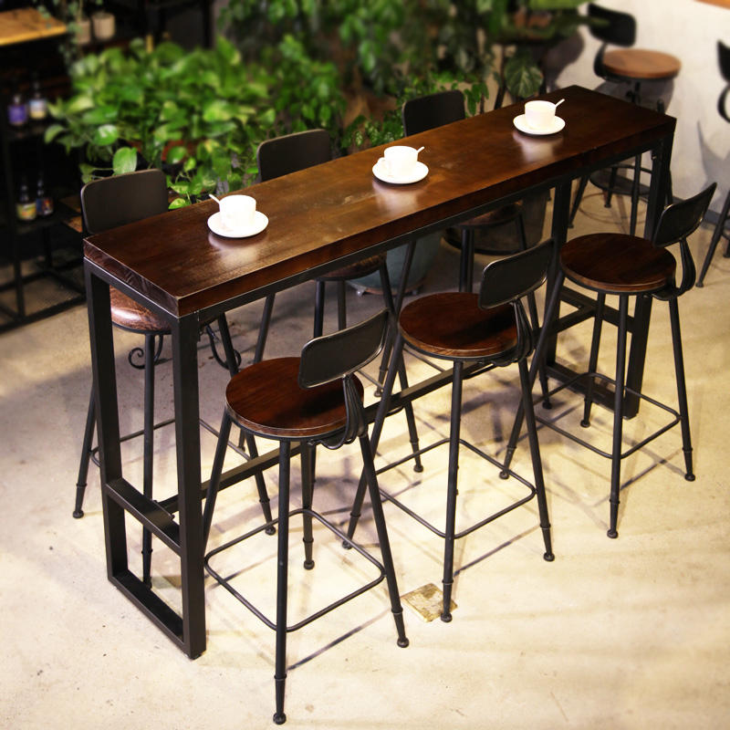 Charmant Bar Table Retro Home Solid Wood Table High Legged Table Milk Tea Shop Bar  Table