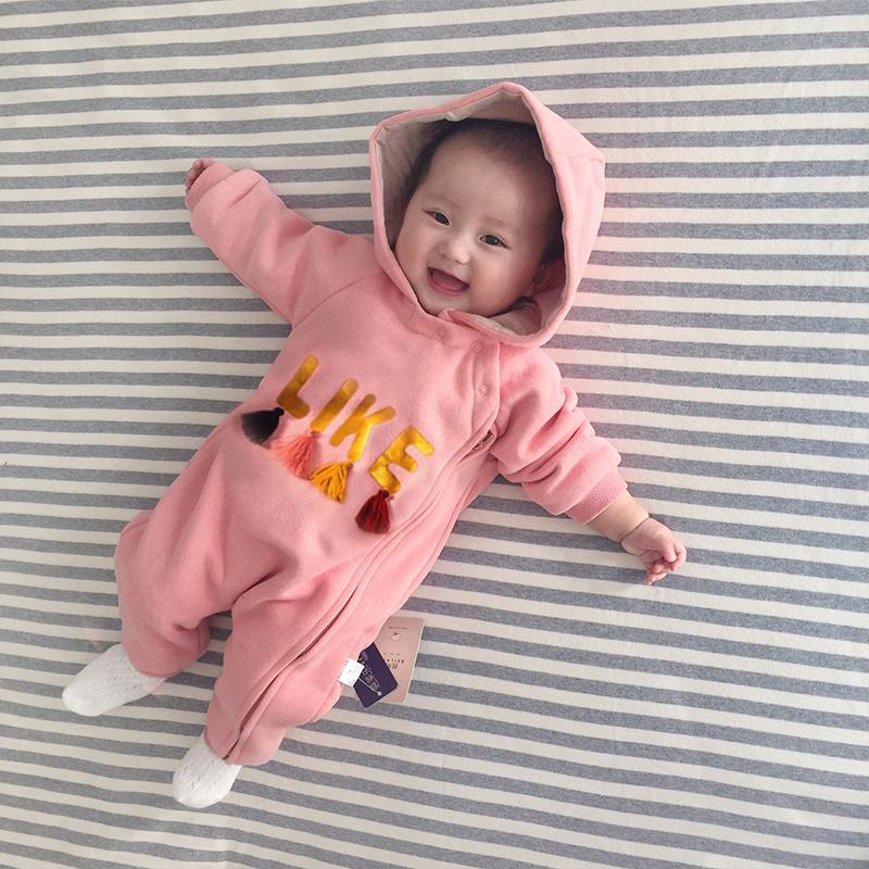 女婴儿连体衣服外出7秋装6新生儿5女宝宝0个月1岁2秋冬装3外套装4