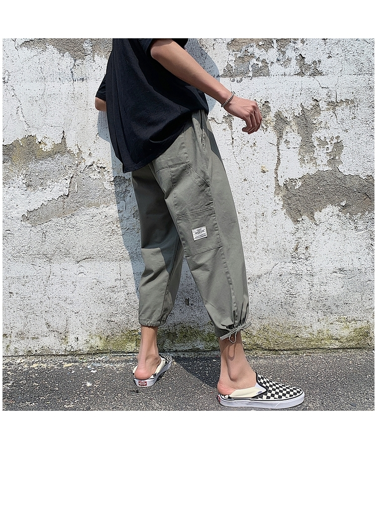 2019夏季新款大码港风多口袋宽松休闲裤细带工装裤 K816-P50 黑色