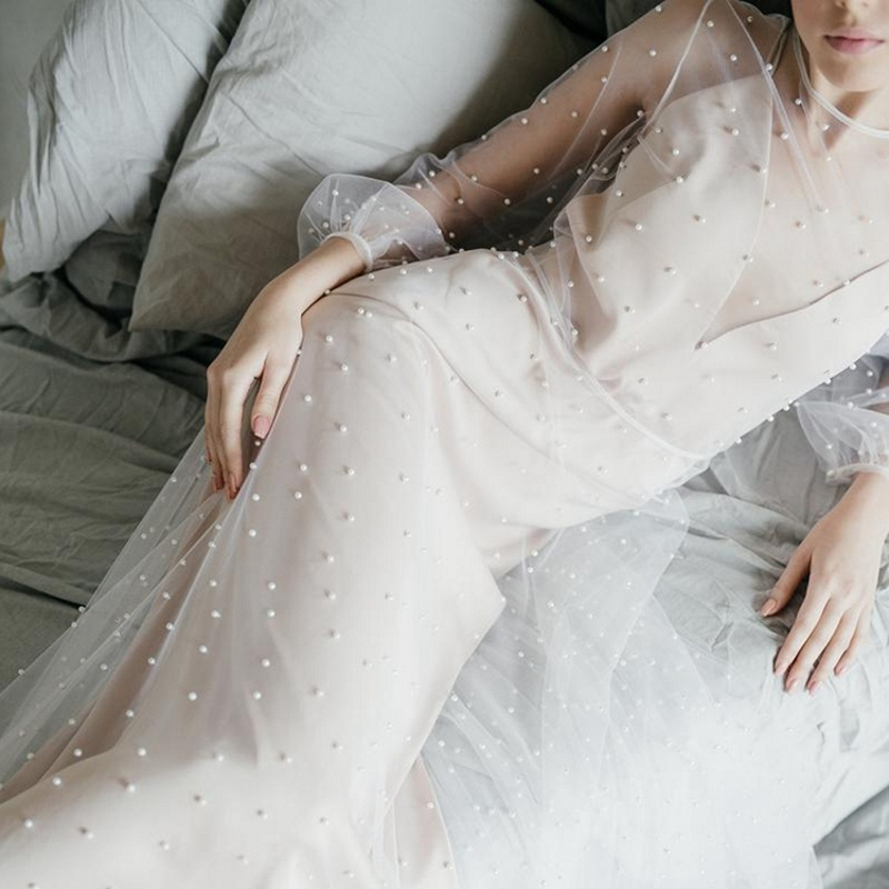 Pearl long-sleeve darting photo real out of the lawn wedding autumn and winter bride toast dress welcome yarn light wedding dress