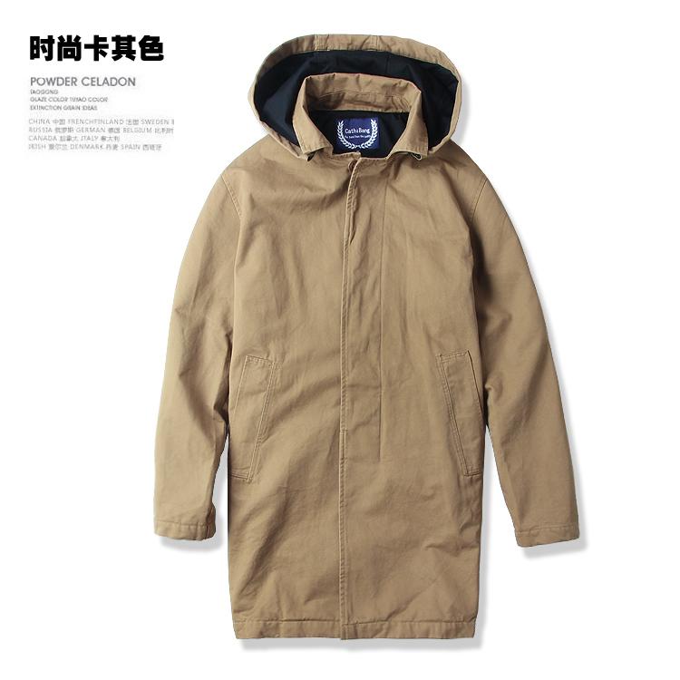 2018 mùa thu nam xu hướng Châu Âu và Mỹ ve áo dụng cụ bông áo gió phong cách Mỹ phần dài áo khoác đơn giản với kích thước lớn
