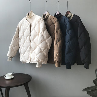 Down cotton clothing East gate, no collar coat, women, winter, Korean loose net, Lingge baseball clothes cotton jacket
