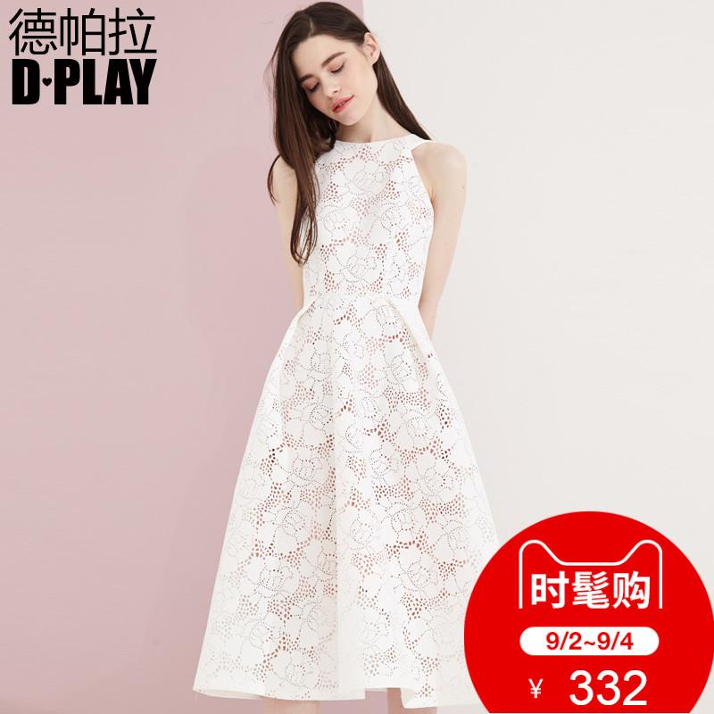 DPLAY Depala đầu mùa thu Châu Âu và Mỹ trắng hollow không tay Một từ váy eo dress hội nghị thường niên ăn mặc váy