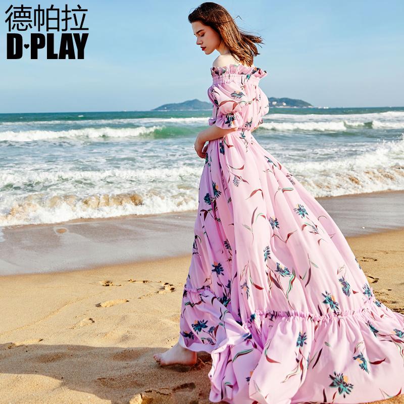 DPLAY Depala 2018 đầu mùa thu Châu Âu và Hoa Kỳ nền tảng in một từ cổ áo đèn lồng tay áo eo kỳ nghỉ bãi biển ăn mặc