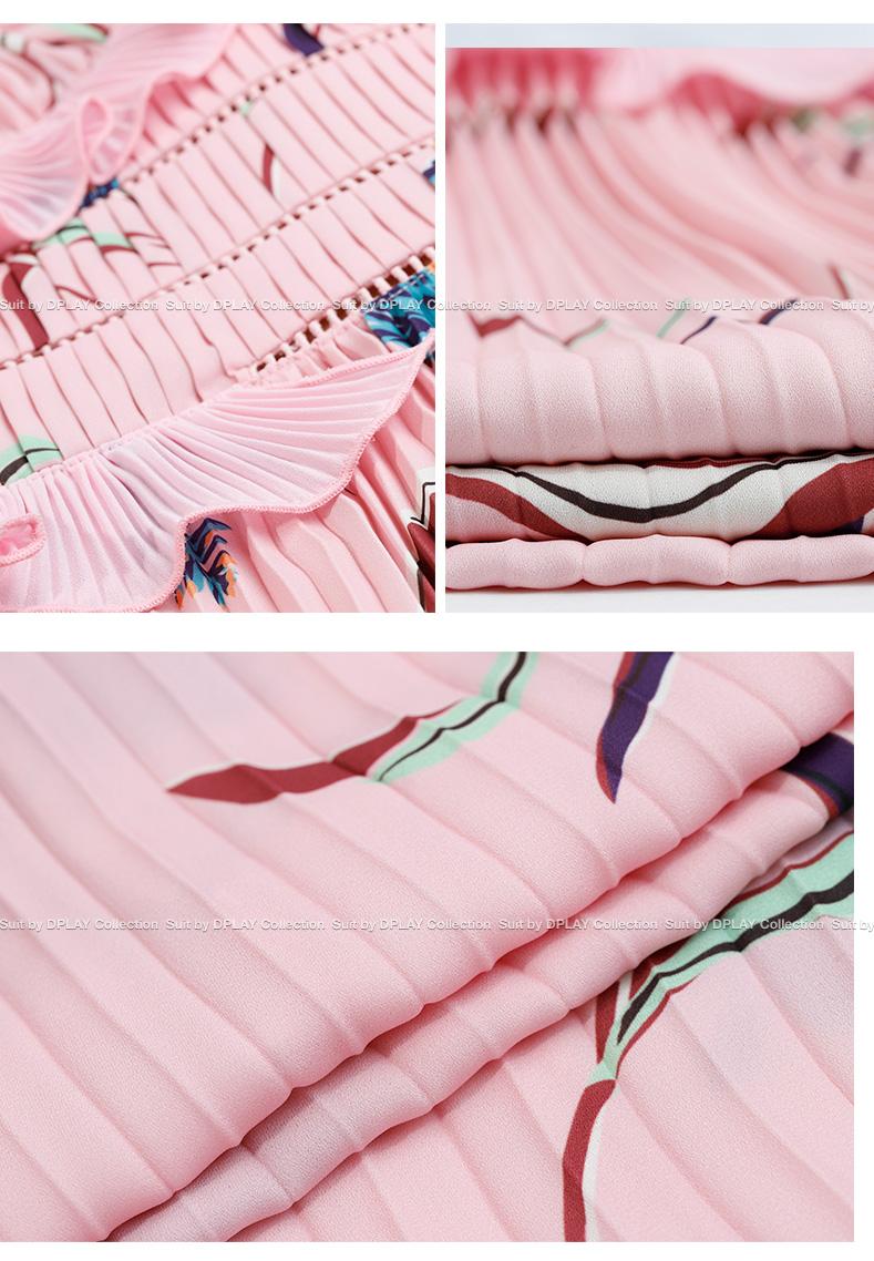 DPLAY2018 mùa hè mới Châu Âu và Mỹ nền tảng in ấn lá sen quây eo cao tốt xếp li ăn mặc