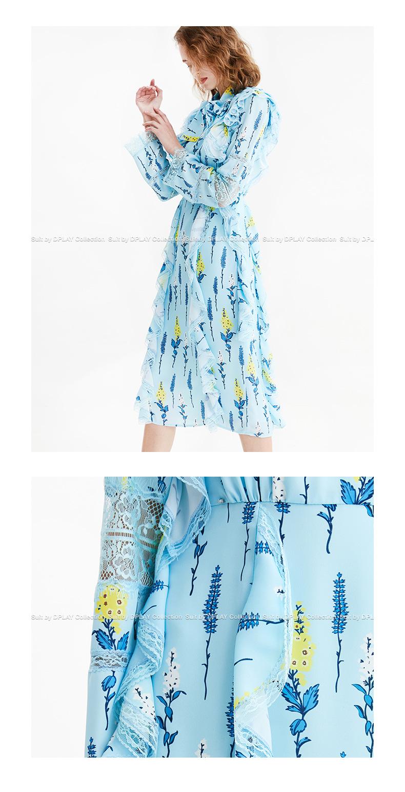 DPLAY2018 mùa xuân và mùa hè mới Châu Âu và Hoa Kỳ ánh sáng in màu xanh knot cao eo váy lá sen dài tay đầm