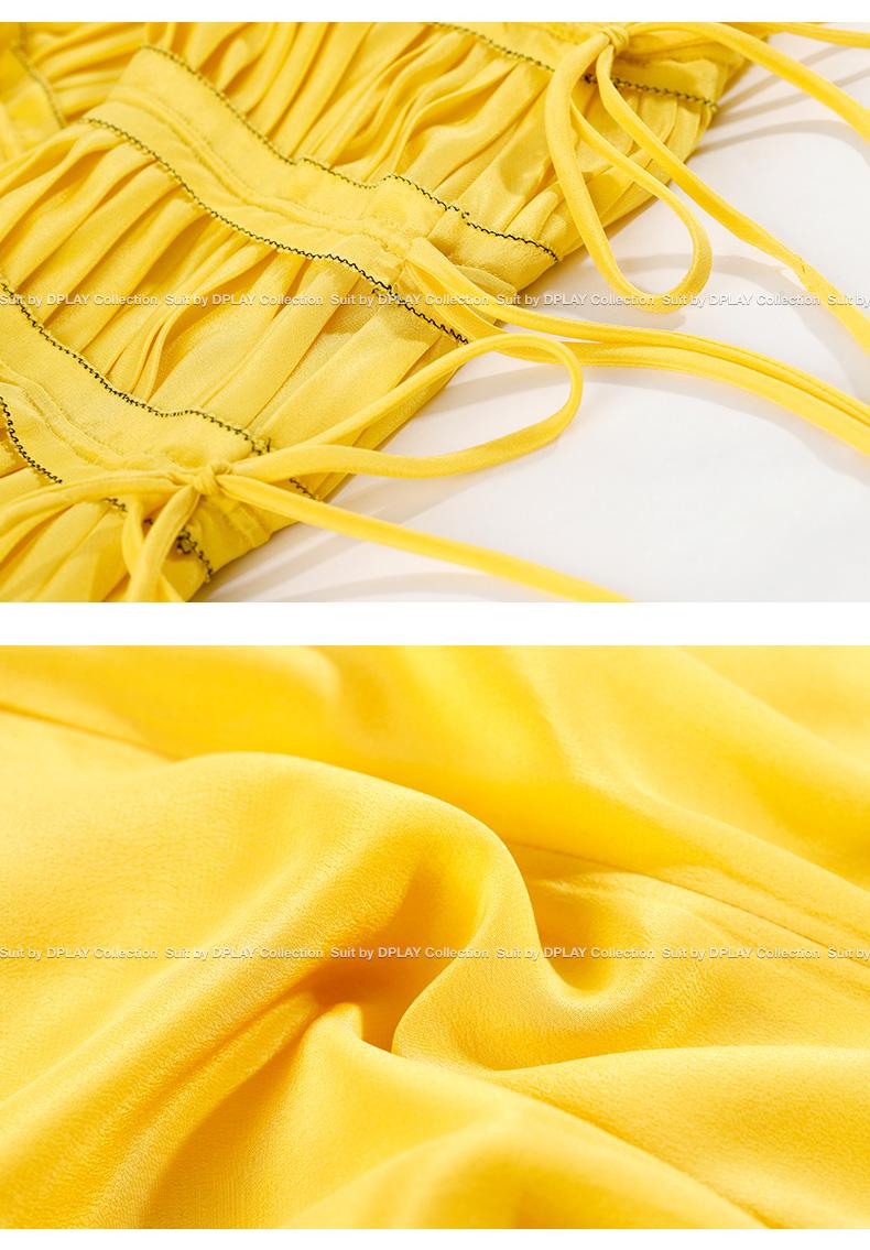 DPLAY2018 mùa xuân và mùa hè mới Châu Âu và Mỹ sáng sóng vàng cổ áo mosaic xếp li váy màu rắn với thanh lịch váy dài