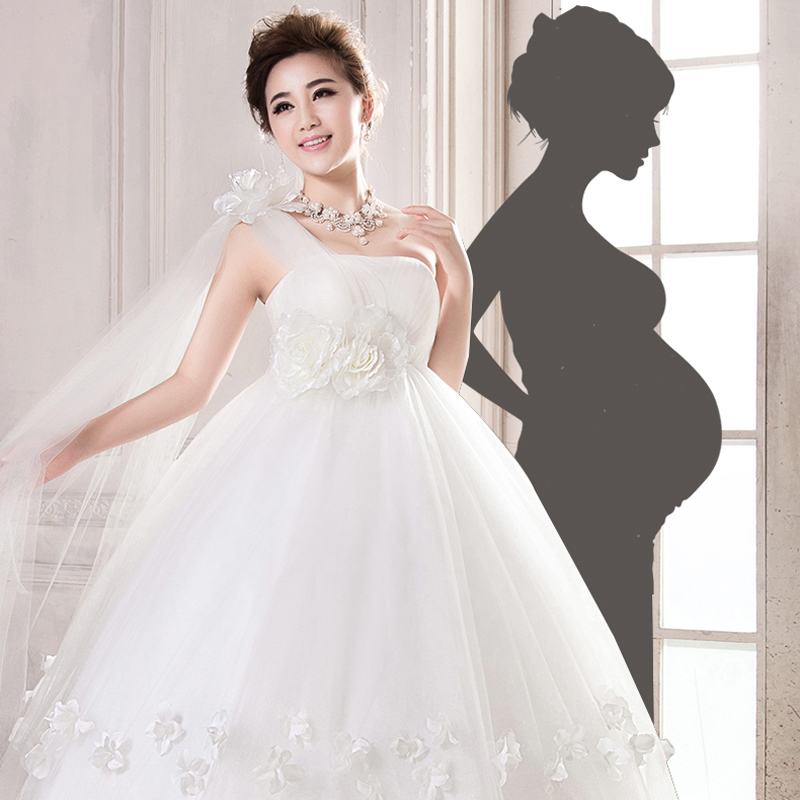 f4d8766a8bd60 Pregnant woman wedding dress high waist cover pregnant belly fat sister  bride girl winter 2019 new fat mm slim big size