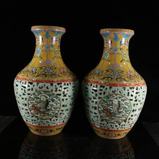 958 antique porcelain antique ancient old full hand-painted pastel gilt hollow of an old fish pattern bottle Decoration 35
