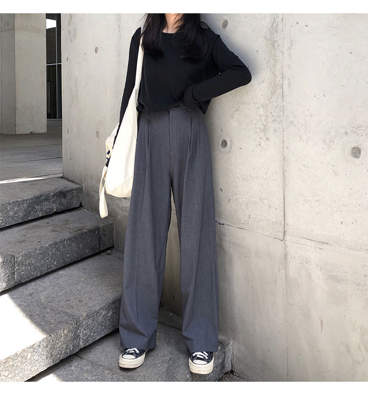 O1CN01G7xTcV1FRFqdTM0DC !!470100483 - S-L 2 colors Casual Straight Suit Pants Women High Waist Pant Office Lady wide leg Long Trousers womens (X580)
